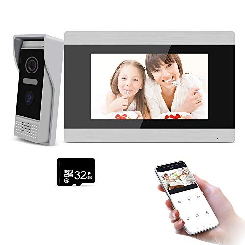 BCOM WiFi Doorbell Video Door Phone AHD IP Intercom System 7 Inch with 720P Wire Camera Support Smart Phone Tuya APP Remote Motion Detection Unlock Night Vision Door Record Snapshot