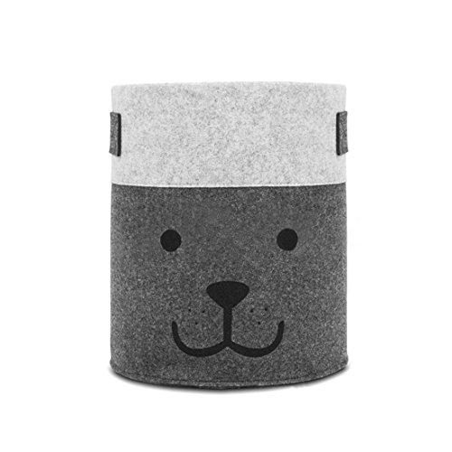 GWELL Süß Bär Filz Aufbewahrungskorb Kinderzimmer Wäschekorb Wäschebox Wäschesammler Kinder Spielzeug Aufbewahrungsbox (großer, grau)