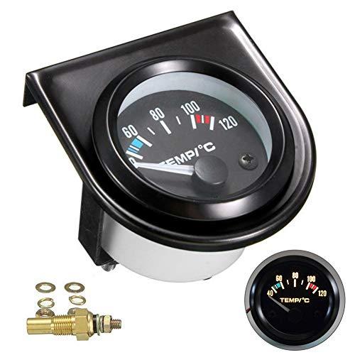 ulofpc 52mm 12V schwarz Universal Typ Auto Zeiger Wassertemperaturanzeige weißes Licht Anzeige Auto Modifikation Instrument Zubehör