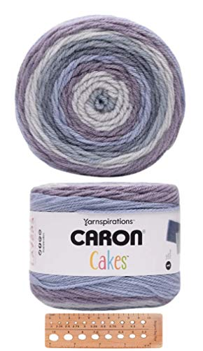 Caron Lovely Layers Knitting Yarn Cakes 2-Pack Bundle Self Striping with Bamboo Knitting Gauge (Sugar Plums)