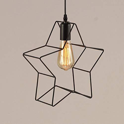 Moderne einfache pendelleuchte Schwarze sternform draht Metall lampenschirm Decke hängende Beleuchtung, minimalistische Federlampen für Schlafzimmer Nachttside Loft Cafe Bar, E27 Sockel