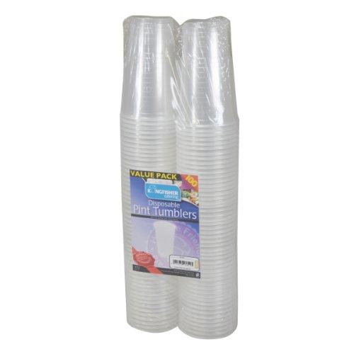 kingfisher Bicchieri di plastica USA e Getta, Trasparenti, 1Pinta, Confezione da 100