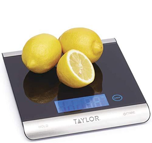 Taylor Pro Balanza Digital de Cocina de Diseño fino y de Gran Capacidad, Compacta, Nivel Profesional y Alta Precisión, Función de Peso con Tara, Vidrio Negro y Acero Inoxidable, 15 kg de Capacidad