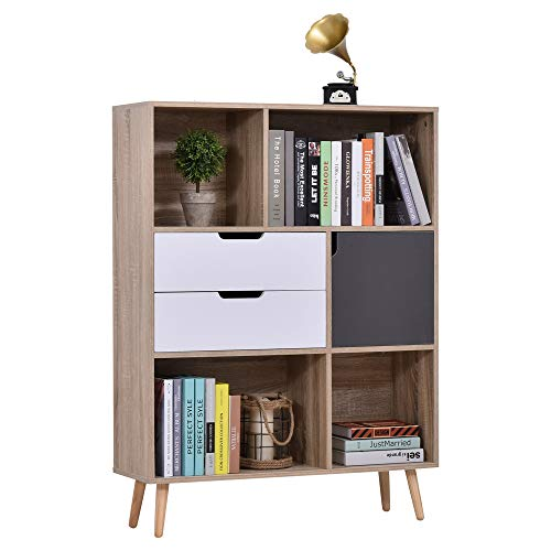 HOMCOM Bücherregal Standregal Kommode Küchenschrank Würfelregal mit 4 offenen Regalen, 2 Schubladen und 1 Türschrank, Weiß+Natur+Grau, Spanplatte, 90 x 30 x 120 cm