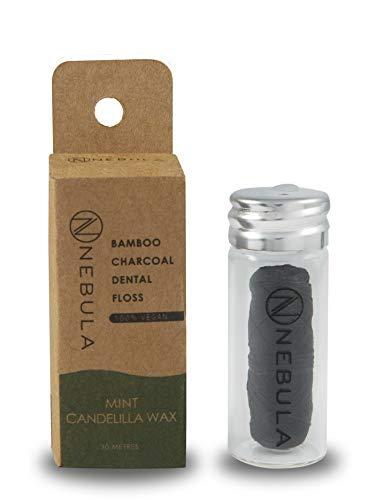 Nebula Bamboo Charcoal Dental Floss  Minzgeschmack, weiches gewebtes Garn mit Candelilla-Wachs, natürliche vegane Mundpflege zur Bekämpfung von Zahnstein und -belag