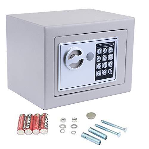 Mini-Safe Digitaler Elektronischer Tresor Sicherheitskasten Feuerfester und wasserdichter Sicherheitsschrank mit PIN-Code und Schlüssel Für Schmuck Bargeld (Silber Grau)
