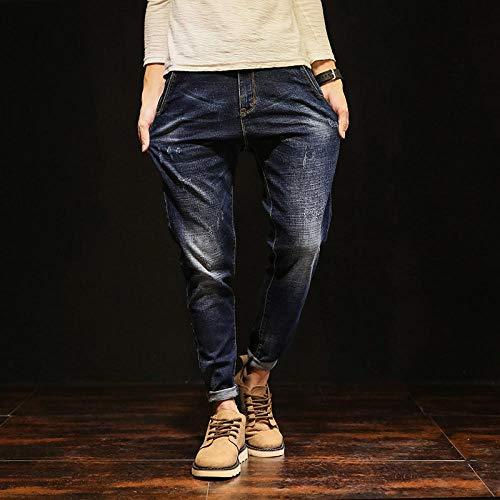 Jeans Jeans Männer Koreanischer Stil Hochwertige Marke Retro Baggy Casual Fashion Taschen Hosen Blau Tapered Plus Size 28 Blau