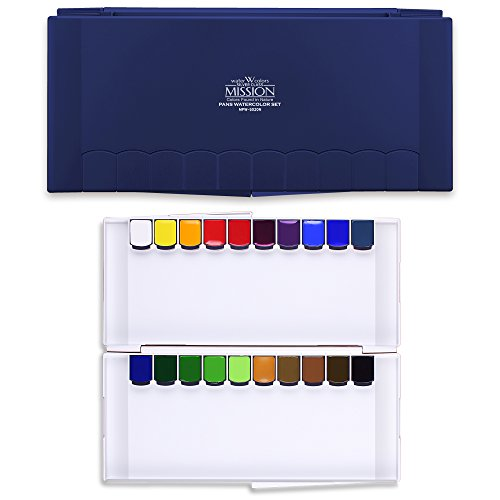 MISSION CrushOn Silver Class Super Size Pans Watercolors 12ml x 20 Colors Palette Set Water Brush by CrushOn (Navy Palette)