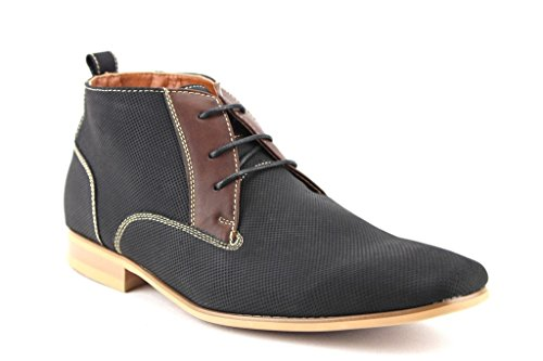 Ferro Aldo Men's 806380E Ankle High Desert Lace Up Casual Dress Boots, Black, 12
