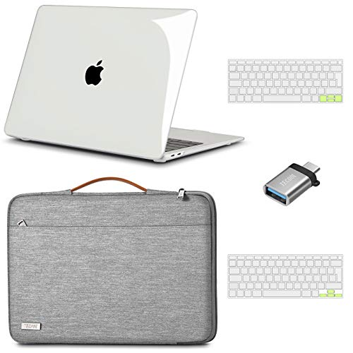 TECOOL Funda para 2020 2019 MacBook Air 13 13.3 Pulgadas A2337 M1/A2179/A1932, Plástico Fundas Duras & Funda Blandas & Cubierta del Teclado & Adaptador USB para Mac Air con Touch ID - Claro & Gris