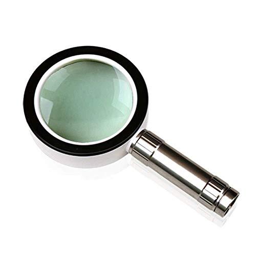 Handheld 10X Illumination vergrootglas met LED-licht HD-lens voor het lezen van boek van kinderen, sieraden, klok, DIY handwerk graveren en repareren, wit, 205 * 108 * 25 mm