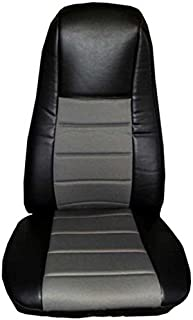 Seat Cover Black/Gray Extra Foam for Cushion fits Peterbilt Kenworth Freightliner Western Star Volvo Internacional ( SET is for 2 seats )