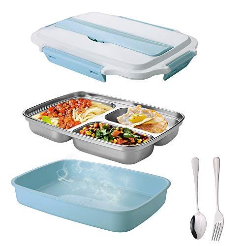 La fiambrera infantil mreechan con 3 compartimentos de fiambrera, recipiente con cuchara y tenedor, con aislamiento, se puede calentar en el microondas, adecuada para la escuela, el picnic (Azul)