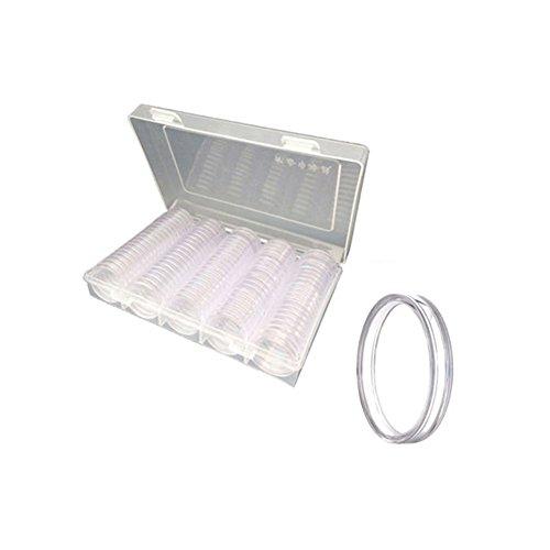 ShenYo 100 r&e Münzkisten, Aufbewahrungsbox, 27 mm/30 mm, Kunststoff, Münzsammelhalter, Kapselbehälter, Münzorganizer, Präsentationsbox (30 mm, transparent)