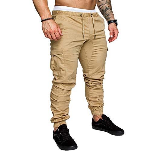 lexiart Mens Fashion Joggers Sports Pants - Cotton Cargo Pants Sweatpants Trousers Mens Long Pants Khaki