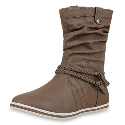 SCARPE VITA Bequeme Damen Stiefel Flache Schlupfstiefel Nieten Boots 165188 Khaki Zierknöpfe 42