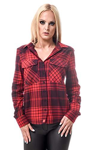 ROCK-IT Apparel® Flanellhemd Damen Langarm Holzfällerhemd kariert Made in Europe Größen S-XL Farbe Rot/Schwarz - RI1056-XL