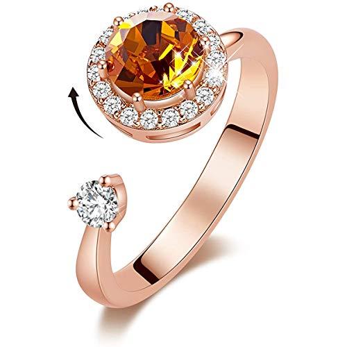 CRYSLOVE Obrotowy kamień urodzenia pierścionki dla kobiet biżuteria prezenty ozdobione kryształami pozłacany 18-karatowym różowym złotem regulowany rozmiar 7-9 dla dziewczyny żony, Size 7-9, colore: 11_listopad