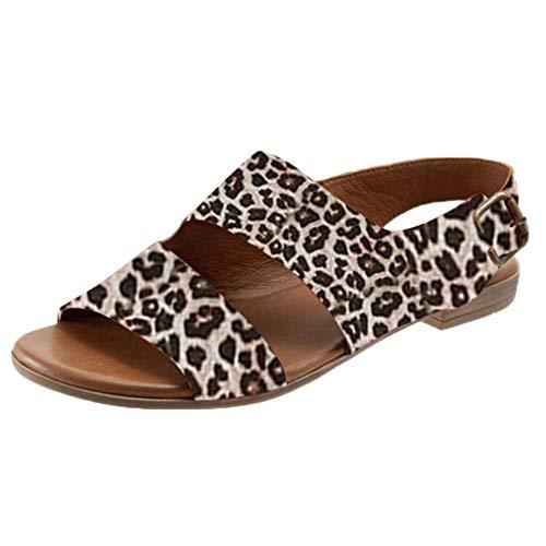 Dam sandaler rem sandal ankelremmar bekväm platt strand sandal Slingback Peep Toe sommar sandaler fritidsskor, - 1 beige - 36 EU