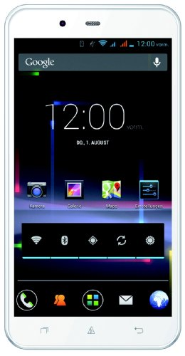 Avus A24 Smartphone (12,7 cm (5 Zoll) qHD Bildschirm, 1,2GHz, Quad-Core, 1GB RAM, 12,6 Megapixel (AF) Kamera, Dual-SIM, Android 4.2) weiß