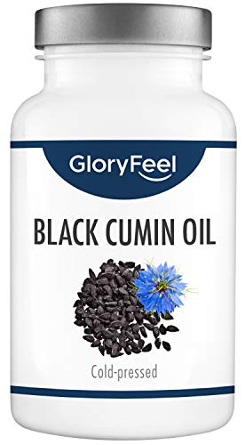 GloryFeel Black Cumin Oil in Capsules - 1000mg High Dosage - 420 Cold Pressed Capsules from Egypt, 80% Essential unsaturated Fatty acids & Vitamin E, Nigella Sativa, Laboratory Tested in Germany