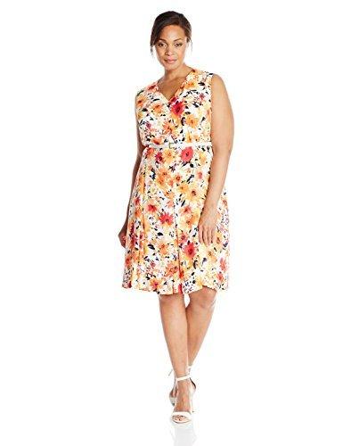 Jones New York Women's Plus-Size V-Neck Fit and Flare Dress, White/Multi