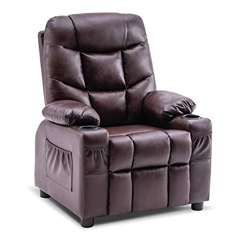 Mcombo Big Kids Recliner Chair with Cup Holders for Boys and Girls Room, 2 Side Pockets, 3+ Age Group, Faux Leather 7366 (Dark Brown)