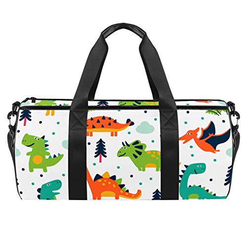 Travel Beach Bags, Large Sport Gym Overnight Duffle Dinasour Animal Print Shoulder Bag with Dry Wet Pocket