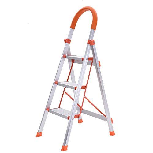 3 Step Ladder | Folding Stepladder Platform Stool Aluminum Step Stools Ladderswith Handgrip Anti-Slip (White)