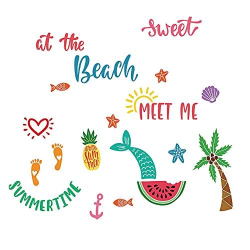Winhappyhome Footprints - Adhesivo decorativo para pared, diseño de frutas y coco, para habitación de niños, decoración de guardería