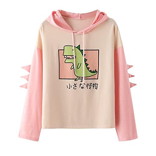 Sudadera Mujer con Capucha para Mujer, Camiseta Manga Larga con Estampado de Dinosaurio Suelto, Sudaderas Mujer con Capucha, de Color V-Neck Hooded Sudadera, para otoño, Tops