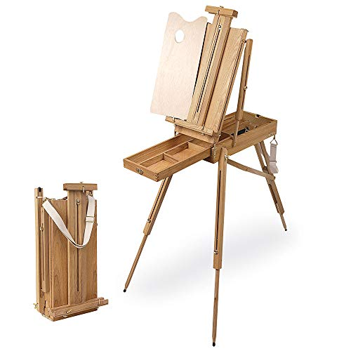 Creative Mark Cezanne Half Box French Artist Easel, with Sketch Box Drawer, Canvas Carrying Clips, Brass Plated Hardware Perfect for Plein Air Painting Drawing -Oiled Stained Elm Wood