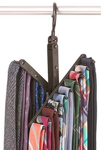 StorageMaid - 3-Pack - Tie Belt Rack – Necktie Accessories Organizer – 20 Non-Slip Hanger Hooks Each – Rotates 360 Degrees – Storage Solution for Neckties and Belts