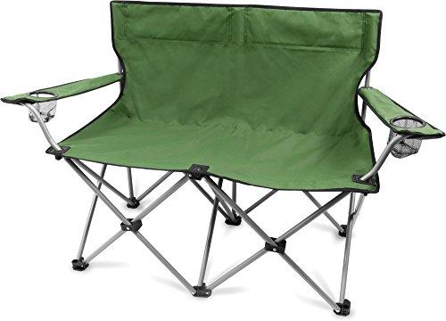 normani 2-Sitzer Campingstuhl Doppelklappstuhl Campingsofa bis 250 Kg inkl. Tragebeutel und Getränkhalter Farbe Oliv