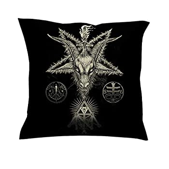 weedlishop Traditional Tribal Goat Magic Star Eye of Providence Tattoo Print Tribal Pillow Case Luxury Square Throw Linen Cotton for Chair Office Gift Decor White 18x18 inch