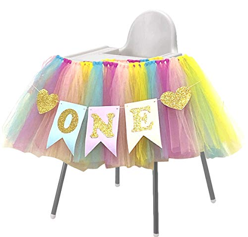 Rainbow 1st Birthday Girls Tutu for High Chair Tulle Highchair Decoration and ONE Pennant Unicorn Happy Birthday Party Supplies Purple Turquoise Pink Yellow
