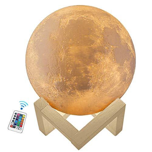 Kowth 3D-Musik-Mondlampe, 16 Farben, Mondlicht mit Holzständer und Fernbedienung und USB wiederaufladbar, Raumdekorationen, Geschenke für Geburtstag & Party & Festival 18 cm (18 cm Mond)