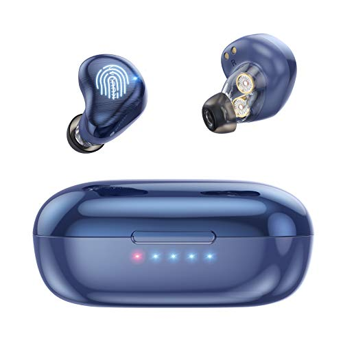 Bluetooth Kopfhörer, TWS 5.0 Doppelhorn Bluetooth Headset Hi-Fi Stereo Sound Ohrhörer Kabellos Berührungssteuerung, Intensiver Bass, Automatische Kopplung,für iPhone und Android Smartphones