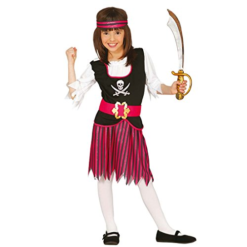 Amakando Traje Novia bucanero Infantil Disfraz Pirata niña S 116/128 cm años 5 - 6 Ropa Carnaval bucanera Fiesta temática Pirata Atuendo corsario niño Outfit Marinera Chica