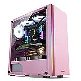 デスクトップPCのコンピュータ、ピンクのためのゲーミングケース、ミッドタワーATX/M-ATX/M-ITX PCゲームコンピュータケース、アクリルガラス、