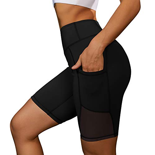 Lolocci Womens Athletic Shorts Nylon Gym Shorts with Side Pockets Short Yoga Pants Black L