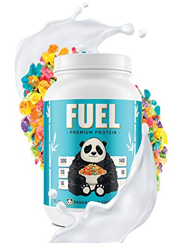 PANDA FUEL Premium Protein Non-GMO Whey Protein Isolate,Grass-Fed Hydrolyzed Collagen,Whey Concentrate,Case in Protein,Egg Protein,Pro-Biotics,Digestive Enzymes.Multi-Stage 25 Servings (Fruity Cereal)