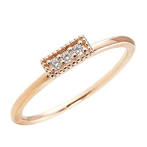 [ジュエリーアイ] ダイヤモンド スリーストーン トリロジー 指輪 ピンキーリング 10金 重ね着け 繊細リング ピンクゴールドK10 14.5号