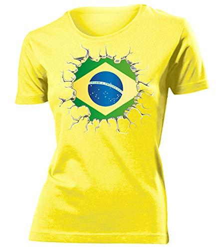 Brasilien Brazil Brasil Fan t Shirt Artikel 5671 Fuss Ball WM 2022 Team Trikot Look Weltmeister Flagge Fahne Frauen Damen Mädchen Girly Gaucho L