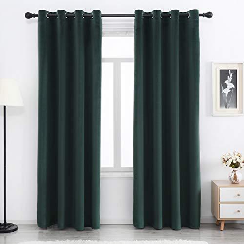 SPXTEX Green Velvet Blackout Curtains for Living Room 84 inches Long Sliding Door Curtains Heavy Velvet Curtains for Bedroom Thermal Insulated Velvet Curtains Grommet Velvet Drapes Set of 1 Panel