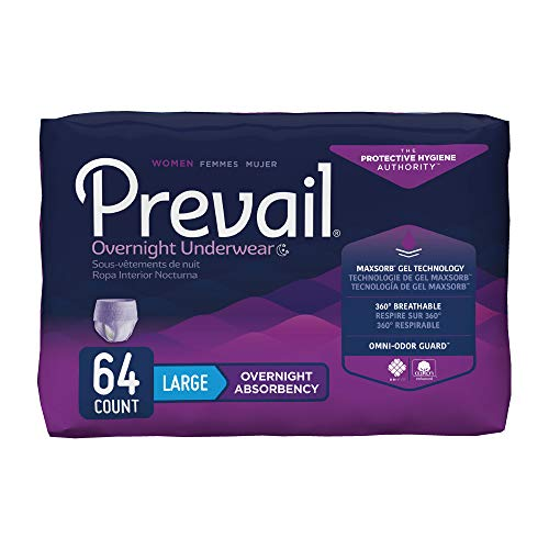 Prevail Incontinence Overnight Protective Underwear for Women, Overnight Absorbency (64 Count) White