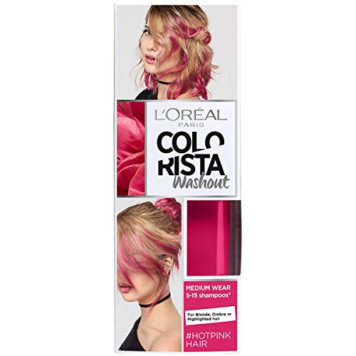L'Oreal Paris Colorista Coloración Temporal Tono Washout Hot Pink Hair, 80 ml