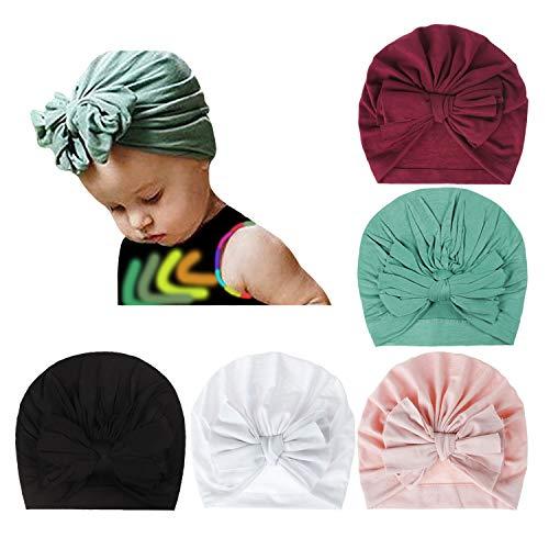 DRESHOW 5 piezas Sombreros de turbante para bebé Nudo de moño de turbante Gorro de bebé para bebé Gorra de niño suave y suave (paquete de 5 volantes con lazo / 1-4 años)