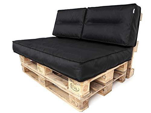 TS Coussin pour palette - Coussin d'assise - Coussin de dossier - Pour palettes euro - 120 x 80 x 12 cm - Noir