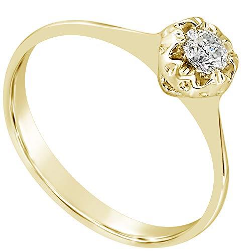 MILLE AMORI ∞ Anillo Compromiso mujer Oro y Diamantes ∞ Oro Amarillo 9 Ct 375 Diamantes 0.08 Quilates ∞ Colección Diadema + Luz + Volumen